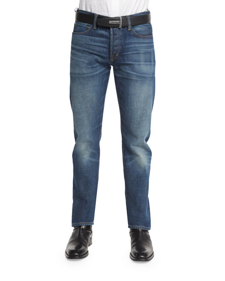 TOM FORD Straight-Fit High-Low Selvedge Denim Jeans, Indigo