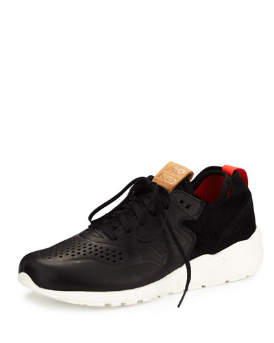 580 Deconstructed Leather-Suede Sneaker, Black/White