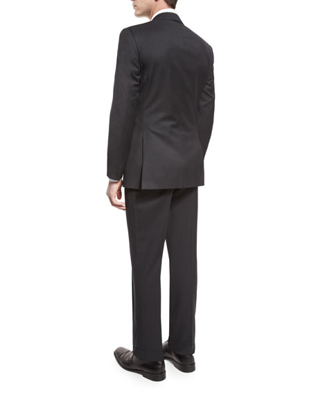 Anthony Trim-Fit Two-Piece Wool Suit, Charcoal