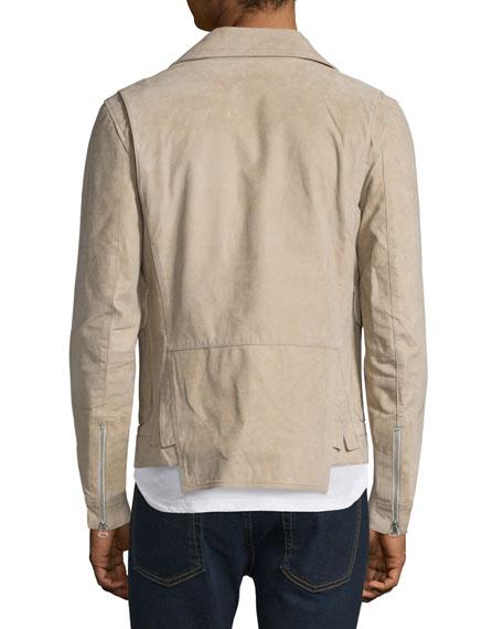 Helmut Lang Distressed Nubuck Leather Jacket, Dark Sand