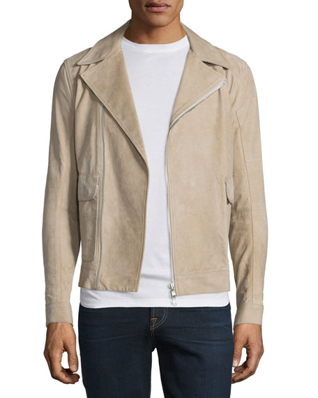 Helmut Lang Distressed Nubuck Leather Jacket, Dark Sand