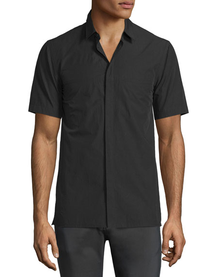 Helmut Lang Whisper Short-Sleeve Cotton Shirt, Black
