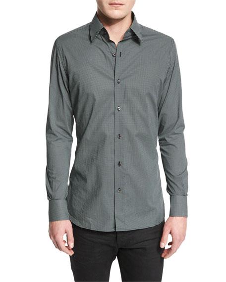 Micro Dot-Print Sport Shirt, Black