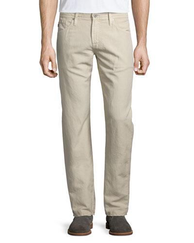 Graduate Sulfur Linen/Cotton Jeans, Desert Taupe