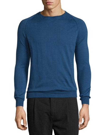 CoSTUME NATIONAL Long-Sleeve Crewneck Sweater, Indigo/Black