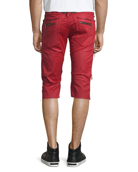 The Show Knee-Panel Moto Shorts, Red
