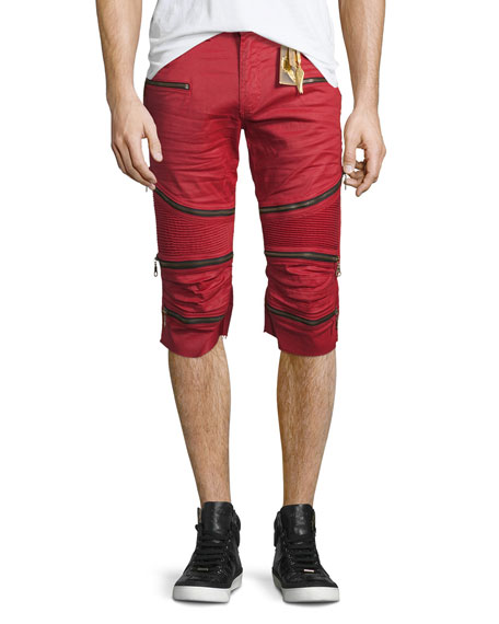 Robin's Jeans The Show Knee-Panel Moto Shorts, Red