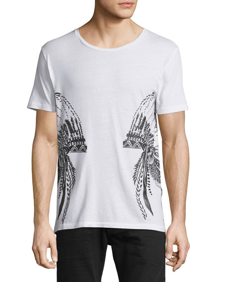Robin's Jeans Headdress-Graphic Short-Sleeve T-Shirt, White