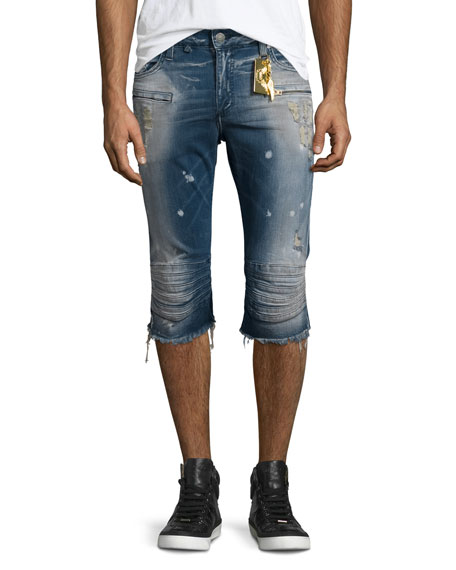 Robin's Jeans Motard Distressed Past-Knee Denim Shorts, Blue