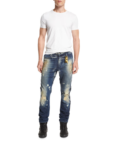 Distressed Side-Stripe Military Denim Jeans, Blue
