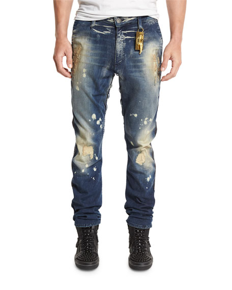 Robin's JeanDistressed Side-Stripe Military Denim Jeans, Blue