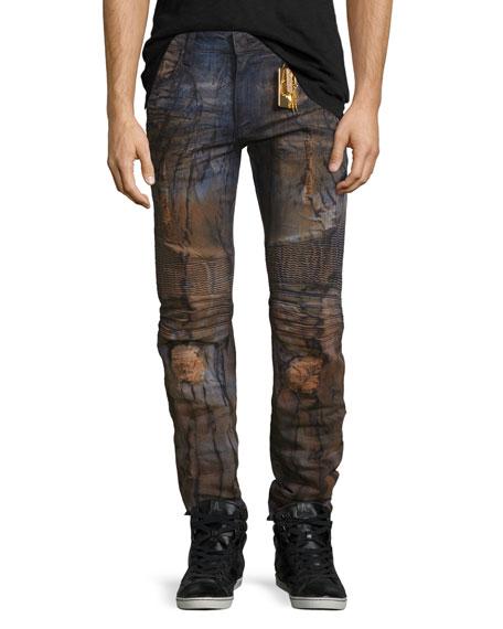 Robin's Jean Distressed Slim-Fit Moto Jeans, Blue