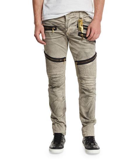 Robin's Jeans Biker Zip-Detail Ribbed Moto Jeans, Beige