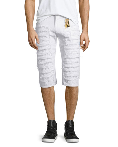 Distressed Slim-Fit Over-Knee Shorts, White