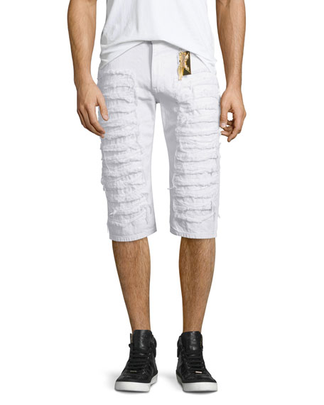 Robin's Jean Distressed Slim-Fit Over-Knee Shorts, White