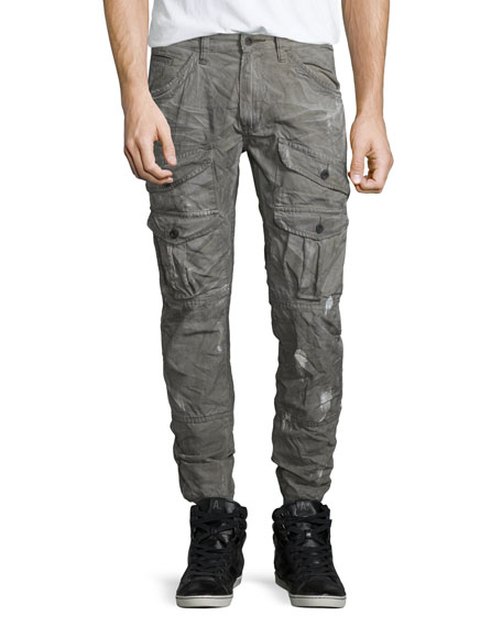 PRPS Distressed Cargo-Pocket Jogger Pants, Gray