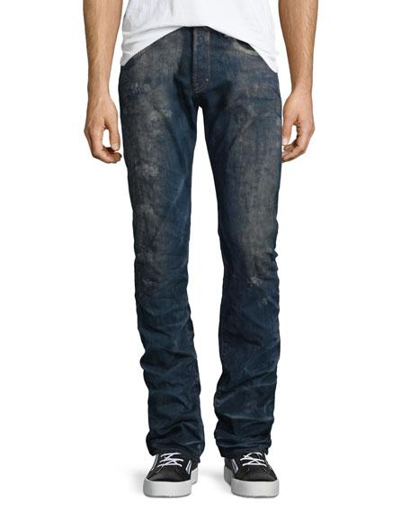 PRPS Barracuda Distressed-Wash Denim Jeans, Dark Blue