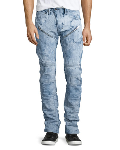 Demon Washed Out Moto Jeans, White