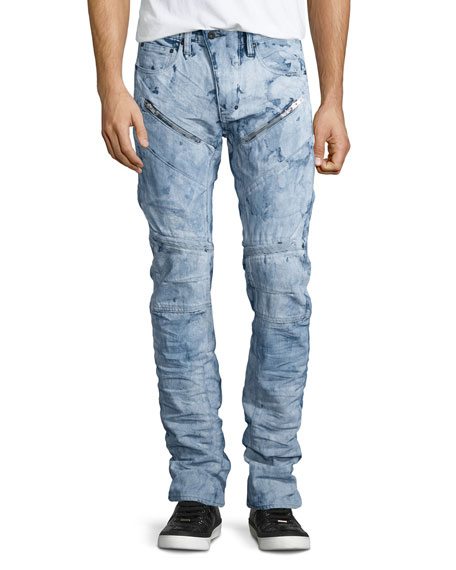 PRPS Demon Washed Out Moto Jeans, White