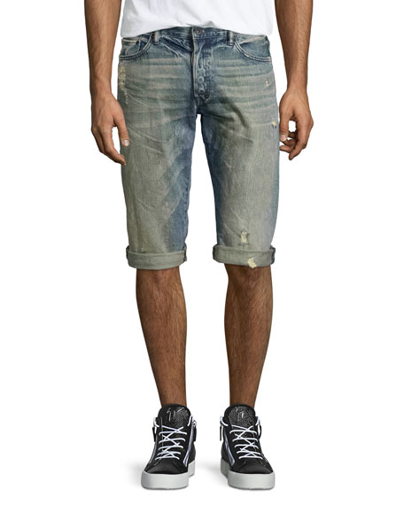 Distressed Slim-Fit Denim Shorts, Blue