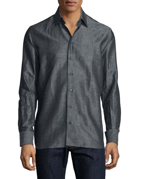 Sebastien James Solid Linen-Blend Long-Sleeve Sport Shirt, Dark Gray