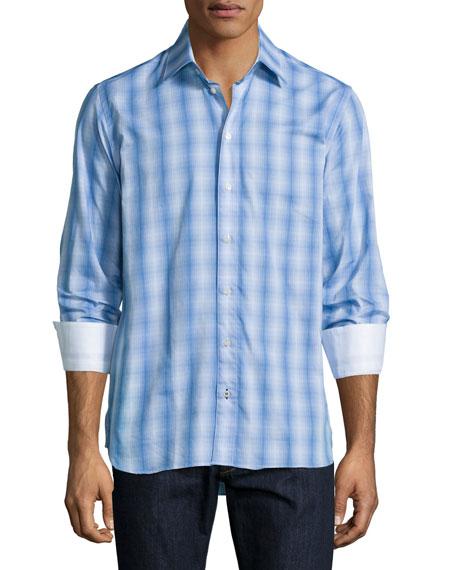 Sebastien James Ombre-Plaid Long-Sleeve Sport Shirt, Blue Pattern