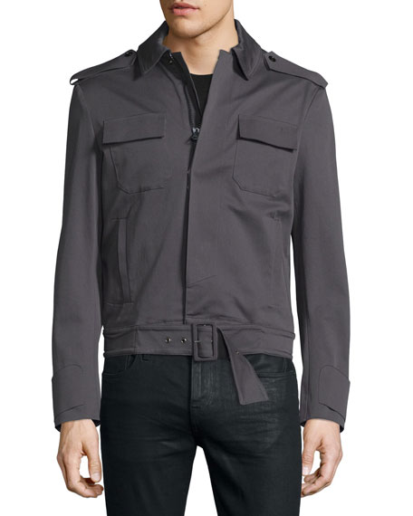 Costume National Long-Sleeve Woven Sports Jacket, Smoke Gray