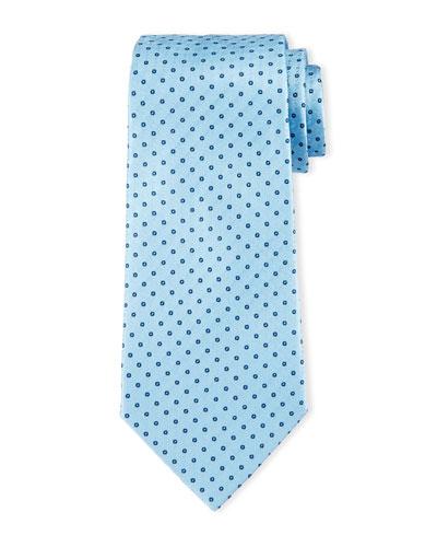 Neat Circle-Dot Print Tie, Light Blue