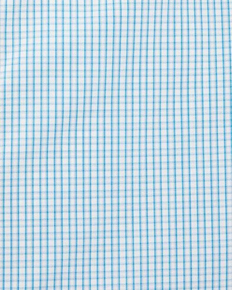 Check Long-Sleeve Dress Shirt, Aqua