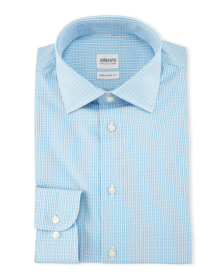 Armani Collezioni Check Long-Sleeve Dress Shirt, Aqua