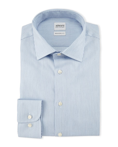 Armani Collezioni Modern-Fit Striped Dress Shirt, Ice Blue