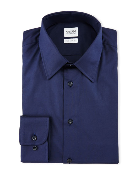 Armani Collezioni Solid Long-Sleeve Dress Shirt, Navy