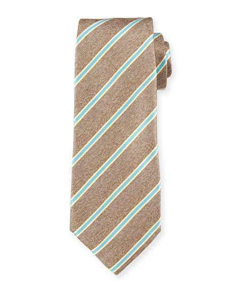Twill Rope-Striped Tie, Tan/Aqua