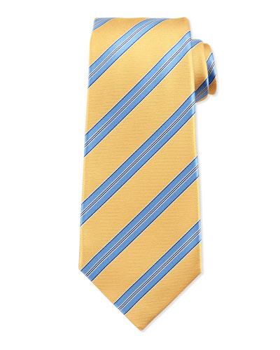 Striped Twill Silk Tie, Yellow