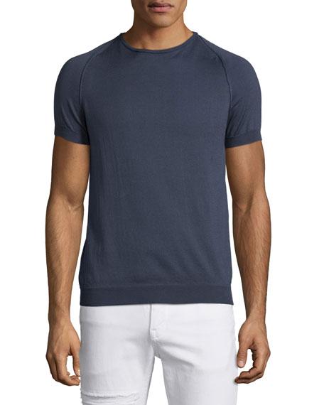 CoSTUME NATIONAL Short-Sleeve Crewneck Sweater, Smoke Gray