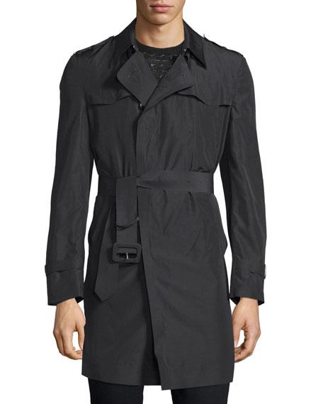 CoSTUME NATIONAL Long-Sleeve Belted Rain Coat, Black