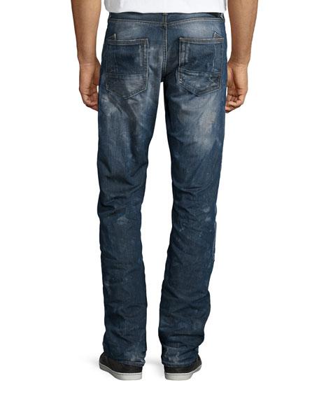 Barracuda Antique-Washed Distressed Denim Jeans, Medium Blue