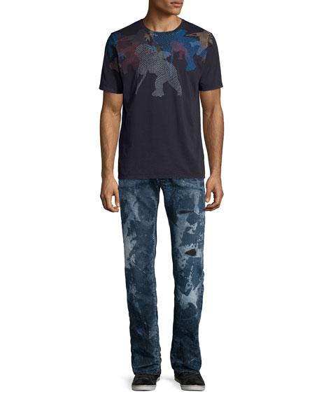 Barracuda Distressed & Bleached Denim Jeans, Blue