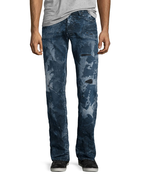 PRPS Barracuda Distressed & Bleached Denim Jeans, Blue