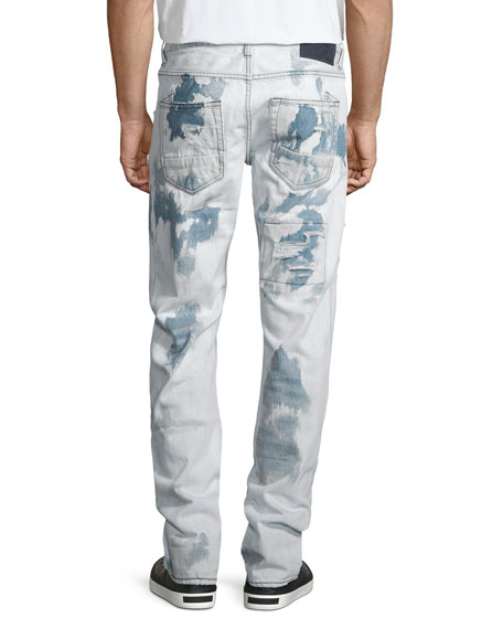Barracuda Bleached & Distressed Denim Jeans, Light Blue