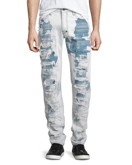 PRPS Barracuda Bleached & Distressed Denim Jeans, Light
