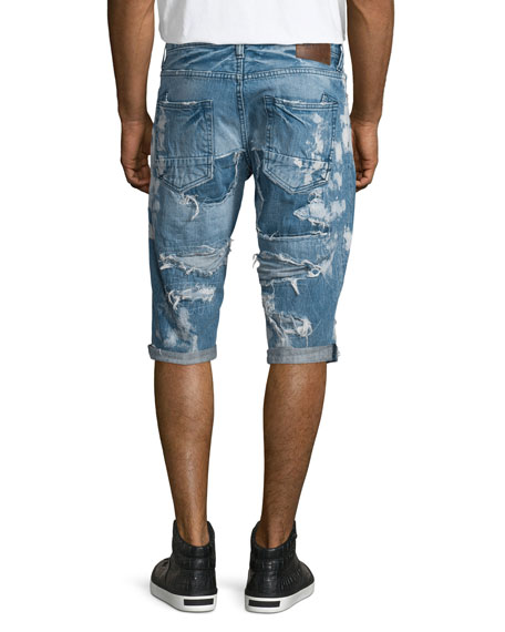 Destroyed Bleach-Splatter Denim Shorts, Blue