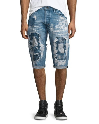 Destroyed Bleach-Splatter Denim Shorts, Blue