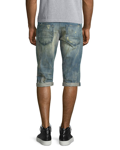 Distressed Slim-Fit Denim Shorts, Light Blue