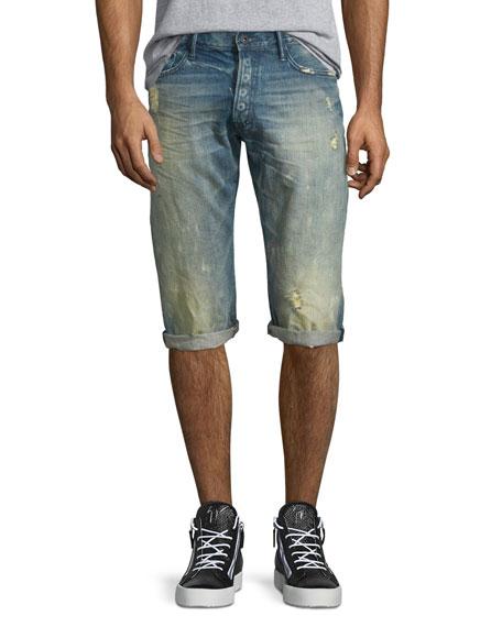 Distressed Slim-Fit Denim Shorts, Light Blue