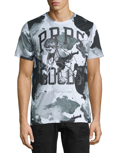 Water-Stained Logo Short-Sleeve T-Shirt, Black/Gray
