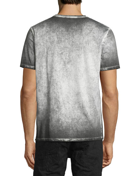 Paint-Splattered Graphic Short-Sleeve T-Shirt, Black/Multi