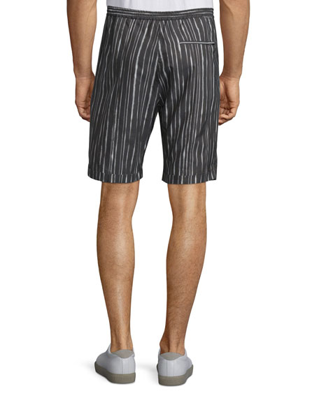Drawstring-Waist Striped Shorts, Black/White