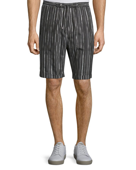 Costume National Drawstring-Waist Striped Shorts, Black/White