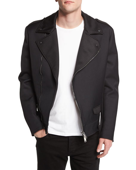 CoSTUME NATIONAL Zip-Front Moto Jacket, Black